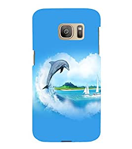 printtech Nature Fish Dolphin Water Back Case Cover for Samsung Galaxy S7 edge / Samsung Galaxy S7 edge Duos with dual-SIM card slots