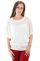 NY Collection Dolman Sleeve Metallic Sweater-L-Jacquiline