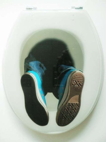 NOVELTY FALLING DOWN THE LOO - HEAD FIRST FEET STICKING OUT RESIN TOILET SEAT