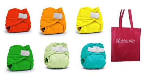 Rumparooz Newborn Cloth Diaper Covers, 6 pack, Gender Neutral Colors with Reusable Dainty Baby Bag Bundle (Aplix)