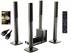 LG BH5540T 500W 5.1Ch 3D Smart Blu-Ray Home Theatre System with 4 Tallboy Speaker, Subwoofer & Centre Speaker and Private Sound Mode For Headphone Listening.Includes Rise of Planet of Apes Bluray and HQ HDMI Cable.-Black