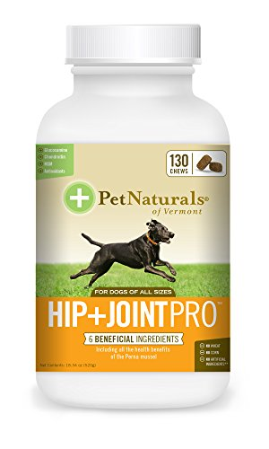 Pet Naturals of Vermont Hip + Joint Pro, Daily Hip & Joint Supplement for Large Dogs, 130 Bite Sized Chews (Vermont Naturals Hip And Joint compare prices)