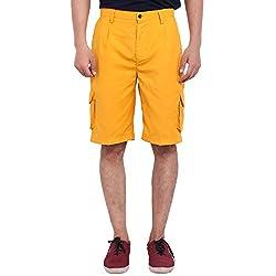 FBBIC Modish Yellow Men's Solid Short(Size::M)