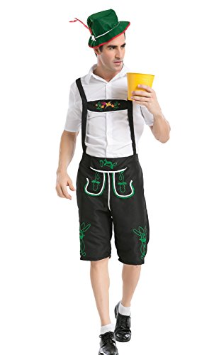 JustinCostume Men's Plus Size Bavarian Beer Guy German Outfits Halloween Costumes, XXL, Black (Bavarian Outfit)