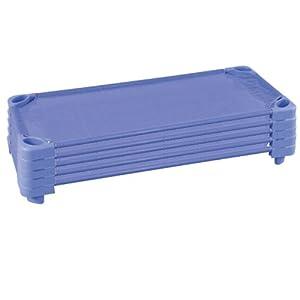 ECR4Kids ELR-16111-CB Stackable Assembled Kiddie Cot, Standard Size, Cornflower Blue, 5-Pack by ECR4Kids