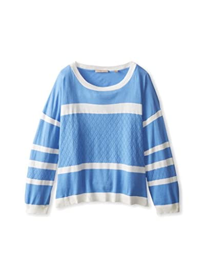 Cashmere Addiction Women's Striped Pullover with Quilt Detail