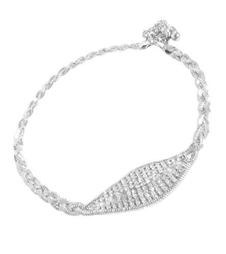 TdZ Metallic Fashion Chain Belt - Braid Chain Faux Buckle with Rhinestones (Silver)