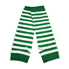 St.Patricks Day Green Striped Pair Of Arm Warmers