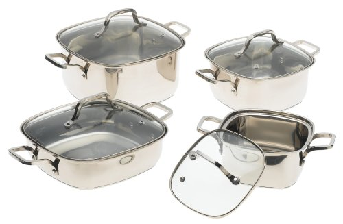 Prime Cookware 8 Piece Square Stainless Steel Cookware Set with Glass Lids (Stainless Steel Square Pan compare prices)