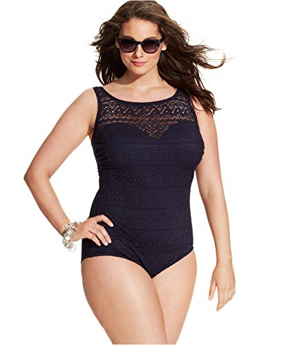 INC Plus Size Crochet Overlay Solid Color One Piece Bathing Suit (22W, Black) (Inc Plus compare prices)
