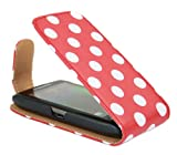 ITALKonline BlackBerry 9860 Torch RED WHITE POLKA DOTS Easy Clip On Vertical Flip Wallet Pouch Case Cover with Holder & Screen Protector