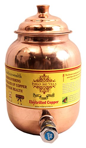 "Indian Art Villa 9.4"" X 4.0"" Handmade 100% Pure Copper Volume 1.5 Ltr. Water Pot Storage Tank Water With Tap Kitchen Home Garden Yoga Ayurveda For Health Benefits"