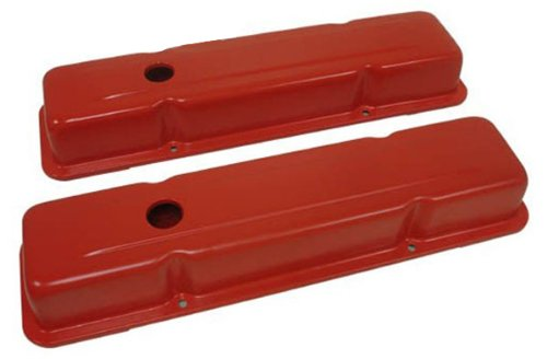 1958-86 Chevy Small Block 283-305-327-350-400 Short Steel Valve Covers - Orange (Valve Cover Small Block Chevy compare prices)