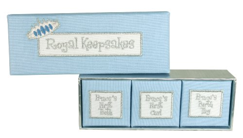 Stephan Baby Fabric-Covered Keepsake Nursery Bracelet, First Tooth And First Curl Boxes Set, Little Prince