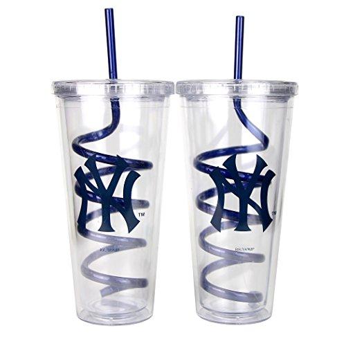 MLB Swirl Straw Travel Tumbler 2 Pack (22 Ounce) (New York Yankees)