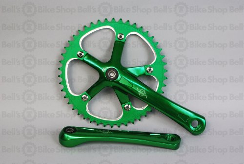 Origin8 Square Top Track Single Speed Bicycle Crankset - Green 165mm x 46T
