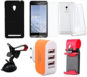 NIROSHA Tempered Glass Screen Guard Cover Case Mobile Holder Charger for ASUS Zenfone 6 - Combo
