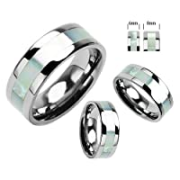 6-8mm High Polish Titanium Ring Wedding Band w/ Mother of Pearl Inlay Sizse 5 to 14 - Serene