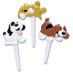 Dress My Cupcake DMC41D-30 12-Pack Puppy Dogs Pick Decorative Cake Topper, Birthday, Assorted