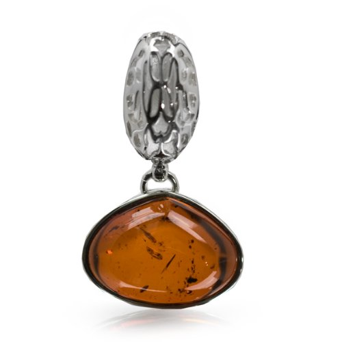 French Collection Cherry Amber and Sterling Silver Small Pendant