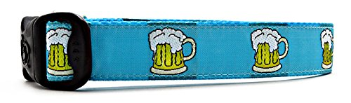 "3 Dirty Dawgz Adjustable Manly Alcohol Beer Dog Collars for Medium Large and X-large Dogs (Large 17""- 27"" Neck, Turquoise)"
