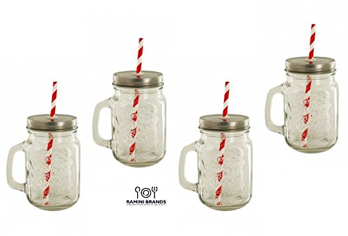 Vintage Styled Lidded Mason Drinking Jars - Glass Mugs With Straw Set - Bonus Iced Tea and Lemonade Recipes - Serve Ice Cold Drinks The Old Fashioned Way - Gift Boxed Set of 4 16 oz Glasses (Mug Jar Glass compare prices)