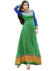 Stylelok Green Georgette Unstitched Anarkali Suit Sl 19012230