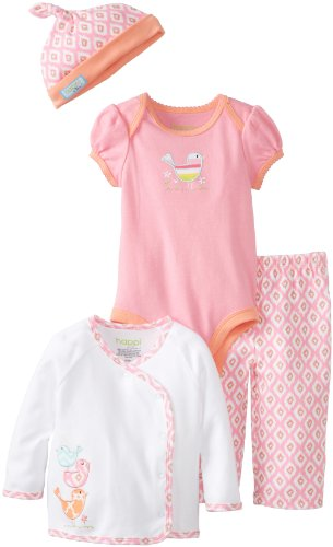 Happi By Dena Baby-Girls Newborn Birds 4 Pc Set, Pink, 0-3 Months