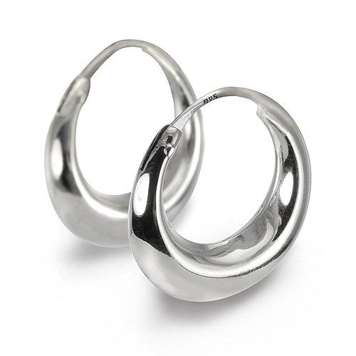 Clevereve Designer Series Sterling Silver High Polish Graduated 3-D Crescent Moon Hinged Hoop Earrings 20.0Mm