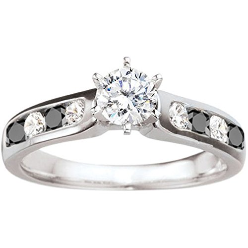 silver embellished three promise ring with black and