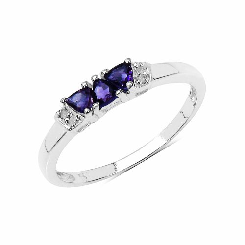 The Amethyst Ring Collection: Ladies 925 Sterling Silver Amethyst & Diamond Engagement Ring with 0.32 Carats Genuine Amethyst & 4 Diamonds (Size O). Comes in a Quality Ring Case for that Special Gift.