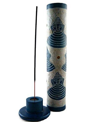Soporte para incienso Buda jabón piedra azul 28 cm