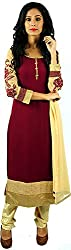 Aarshi Women's Crepe Stitched Salwar Suit (KMD/DS/001/1124_L, Maroon, L)