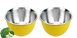 LIEFDE MICRO WAVE SAFE STAINLESS STEEL PLASTIC COATED SERVING BOWLS(SET OF 2 BOWLS)