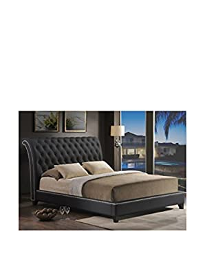Baxton Studio Jazmin Tufted Modern Bed with Upholstered Headboard, Queen, Black