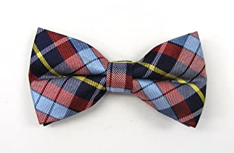 100% Silk Woven Navy and Red Totally Tartan Plaid Pre-Tied Bow Tie