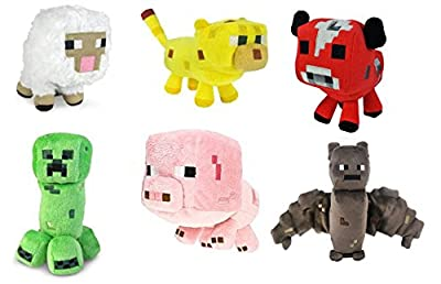 Minecraft Animal Plush Set of 6. Sheep, Bat, Ocelot, Mooshroom, Pig, Creeper. 6- 8 Inches from MOJIANG