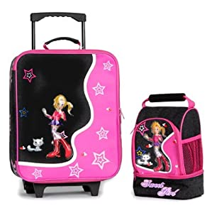 Compass Kids Sweet Girl Set Of Trolley Case Lunch Cool Bag Black
