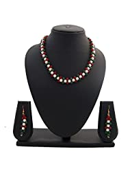 Nisa Pearls Traditional Pearls Necklace Set Adorned Green And Red Color Stones