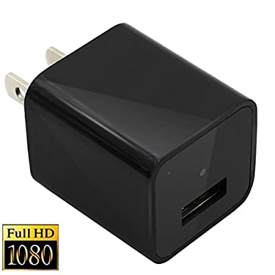 Spy Hidden Camera Adapter HD 1080P USB Wall Charger Nanny Cam, Built-in 8G Memory Mini Video Camera Home security camera [black] from spycamera tech