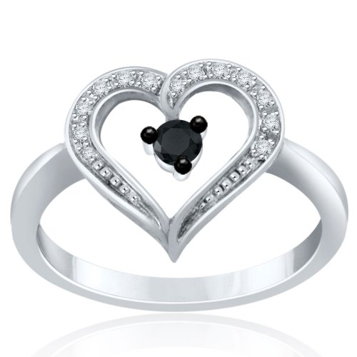 Sterling Silver Black/white Cz Heart Ring