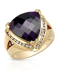 FPJ Pleasant Ring With 14.85ctw Cubic zirconia in 14K/925 Gold plated Silver. Total item weight 10.9g (Size 7)