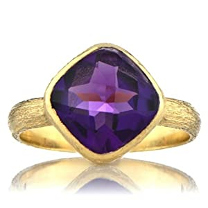 Nev's Genuine Amethyst Cushion Cut Right Hand Ring - Gold Size 6