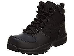 Boy\'s Nike Manoa Leather Textile (GS) Hiking Shoe Black Size 7 M US