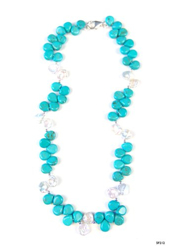 Keishi Pearl and Turquoise Necklace