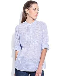 VAAK Women's Stripe Pleated Top With Round Collar 100% Cotton(M)