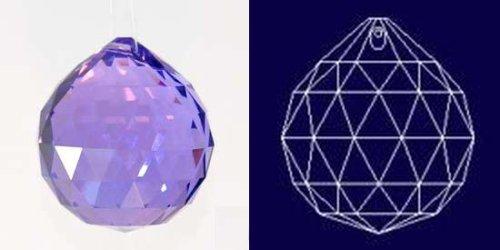 40mm Vintage Crystal Purple Feng Shui Ball, Golf Ball Size