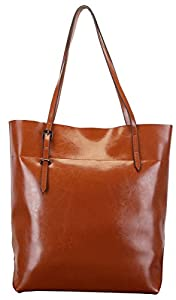 Heshe New Lady's Genuine Leather Casual Vinatge Top Handle Tote Shoulder Bag Satchel Purse Handbag for Women