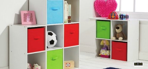 Kids Bedroom Storage Cube System White Shelving Colour Canvas Drawer 2 Cube