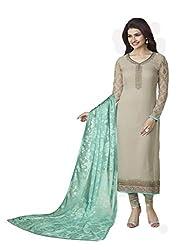 Grey Coloured Georgette Designer Embroidered Salwar Suit